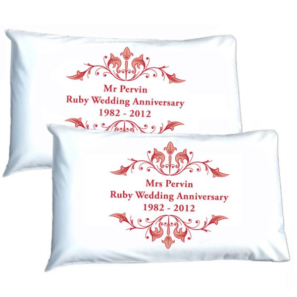 Ruby Wedding Anniversary Gift Experiences : Personalised Ruby Anniversary Pillowcases The Gift Experience