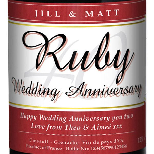 Personalised Ruby Wedding Anniversary Red Wine | The Gift ...