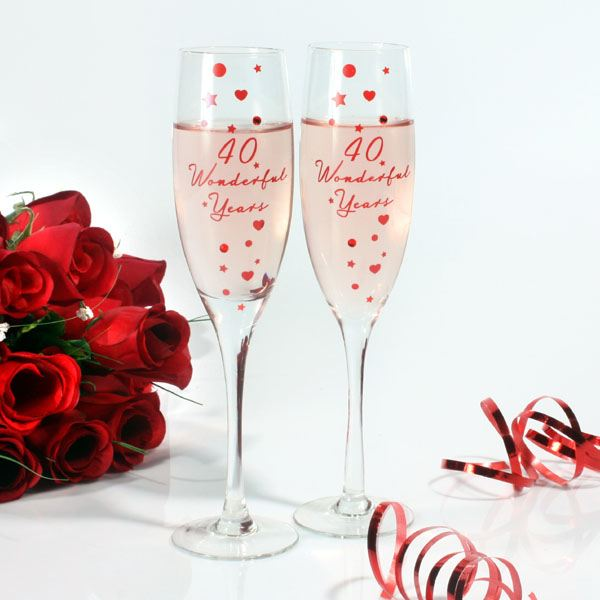 Unique Ruby Wedding Gifts : Happy 40th Anniversary Glasses The Gift Experience
