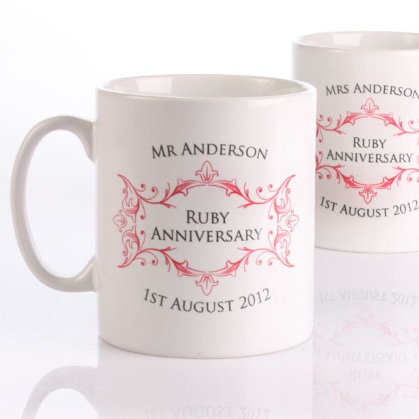 Ruby Wedding Anniversary Gifts Uk: Pair Of Personalised Ruby Anniversary Mugs