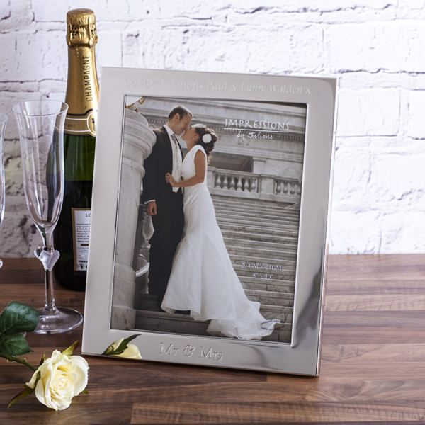 personalised mr mrs silver photo frame 8x10 - Mr And Mrs Frame