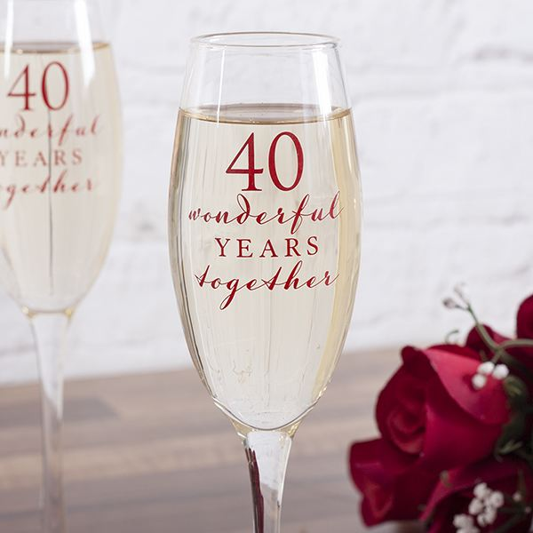 Happy 40th Anniversary Glasses The Gift Experience