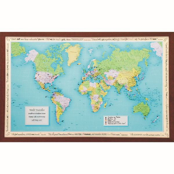 Personalised world traveller map the gift experience personalised world traveller map gumiabroncs Image collections