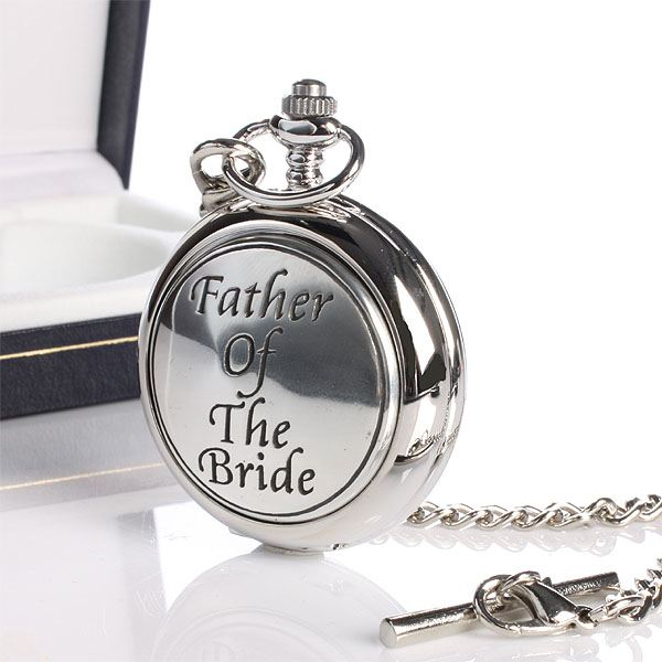 Father of the Bride engraved pocket watch gift