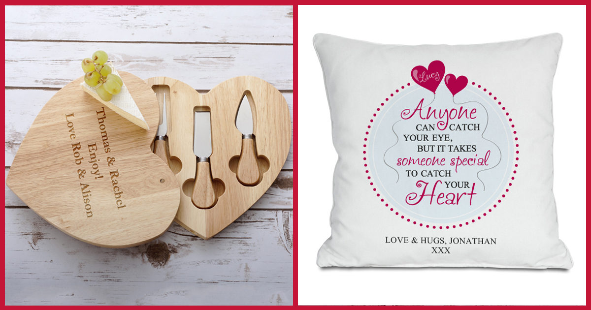 Wooden Heart Swivel Cheeseboard and Knife Set & Catch Your Heart Cushion