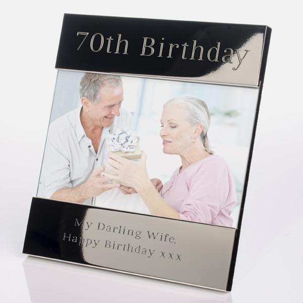 Engraved 70th Birthday Photo Frame