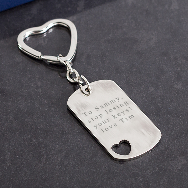 Personalised Rectangle Keyring With Cut Out Heart - Keyring Gifts