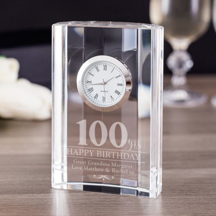 Engraved 100th Birthday Mantel Clock product image