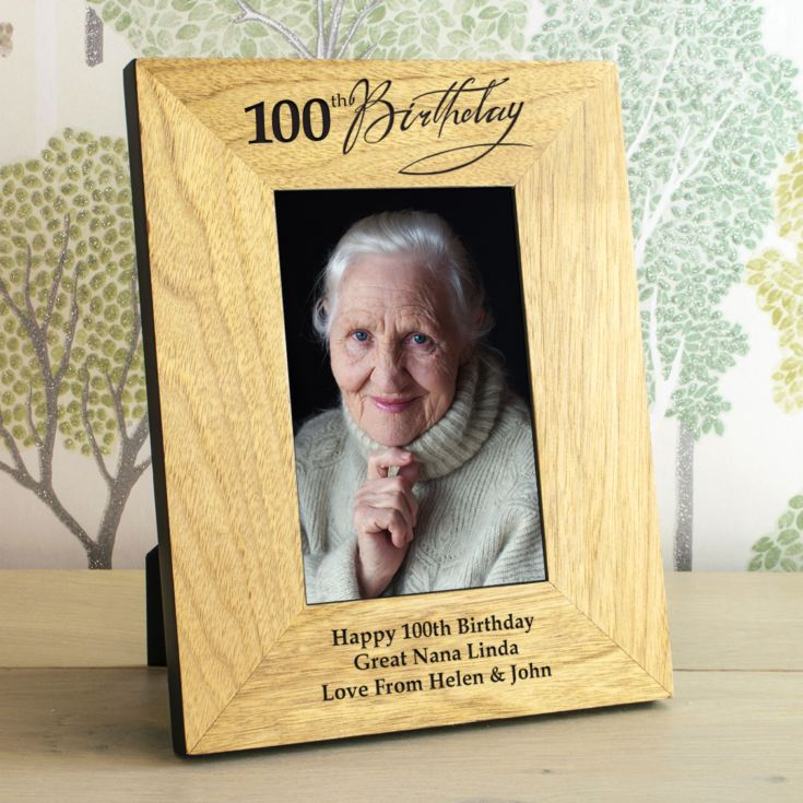 100th Birthday Wooden Personalised Photo Frame product image