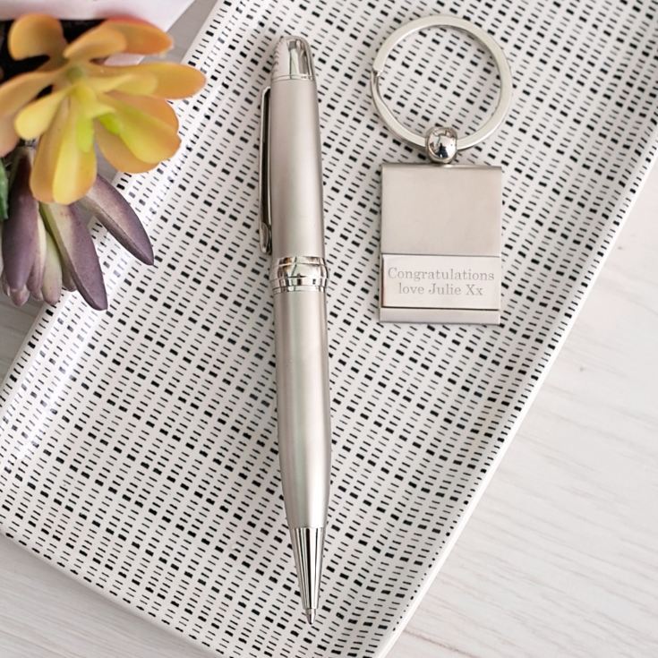 Ballpoint Pen and Personalised Keyring Gift Set product image