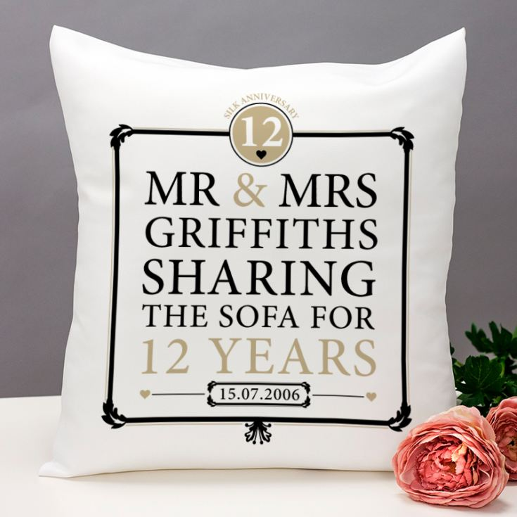 Personalised 12th Anniversary Sharing The Sofa Cushion product image