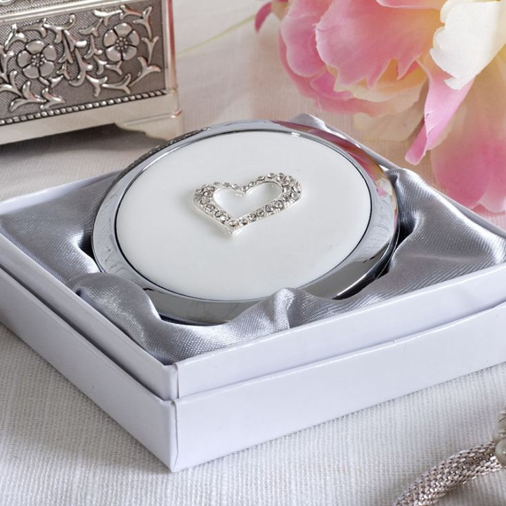 Personalised Sophia Silverplated Crystal Heart Compact Mirror product image