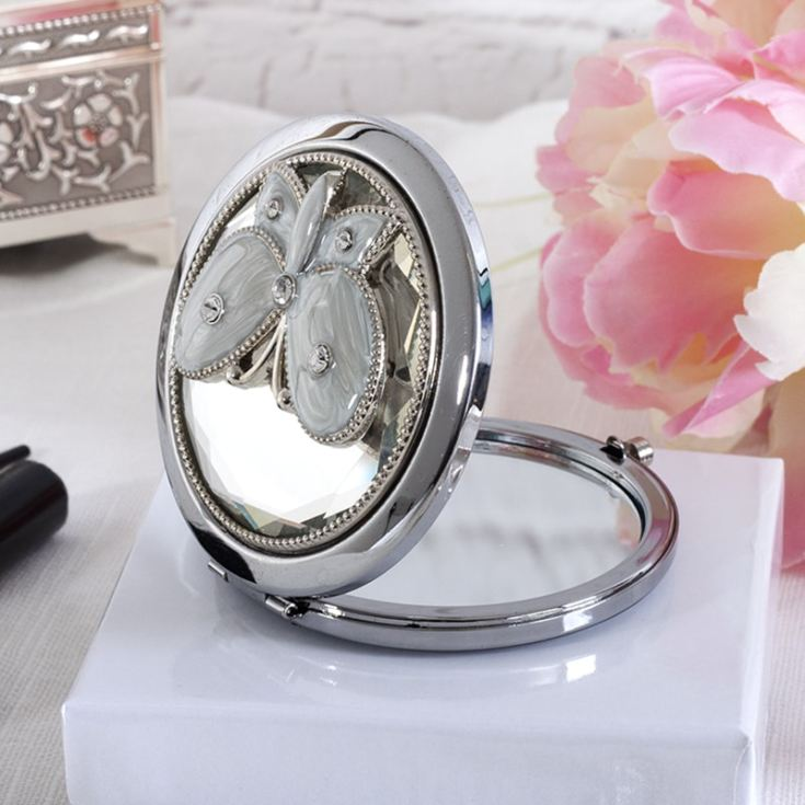 Engraved Sophia Silverplated Crystal And Butterfly Compact Mirror product image