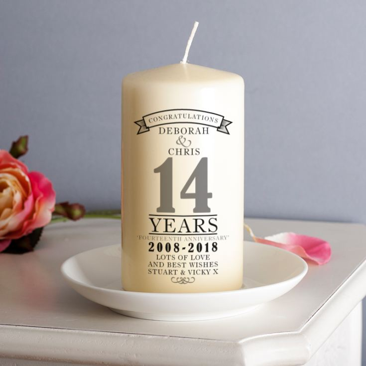 Personalised 14th Anniversary Candle product image