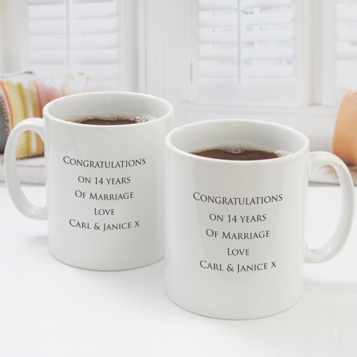 Pair of Personalised Fourteenth Anniversary Mugs product image