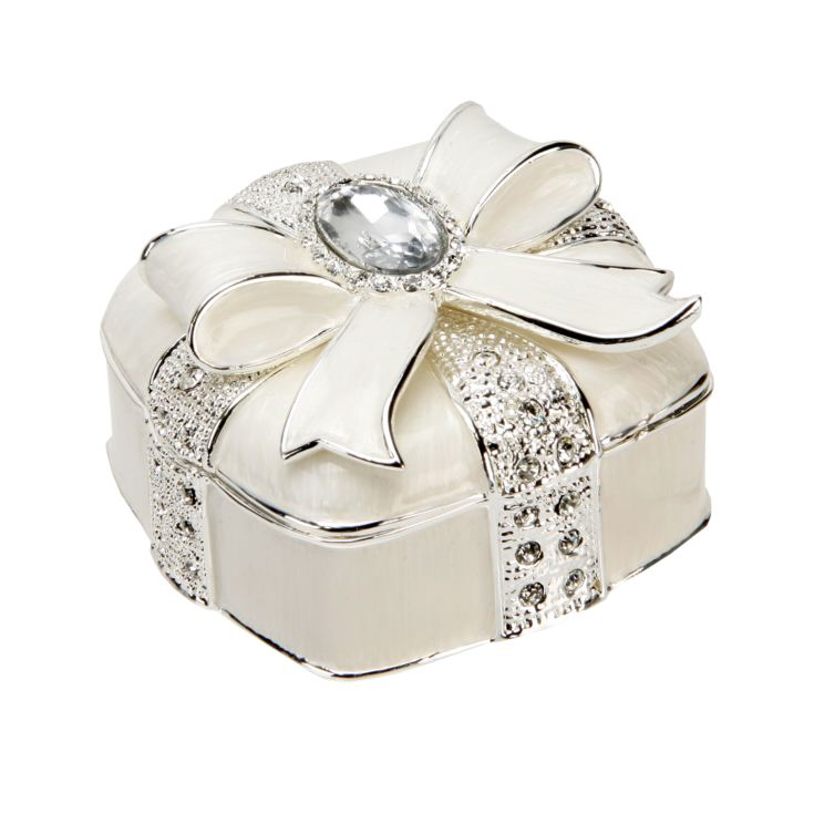 Sophia Silverplated & Epoxy Trinket Box - Crystal Bow product image