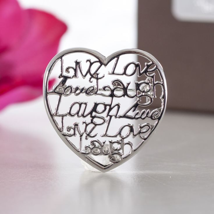 Live Laugh Love Script Heart Brooch In Personalised Box product image
