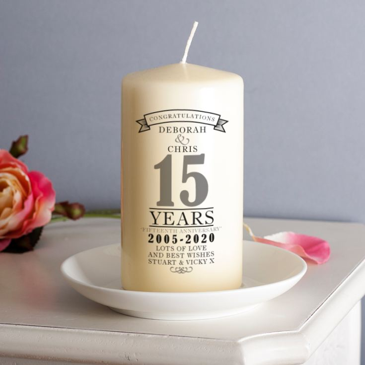 Personalised 15th Anniversary Candle product image