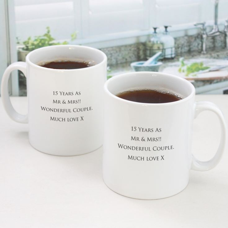 Pair of Personalised Fifteenth Anniversary Mugs product image