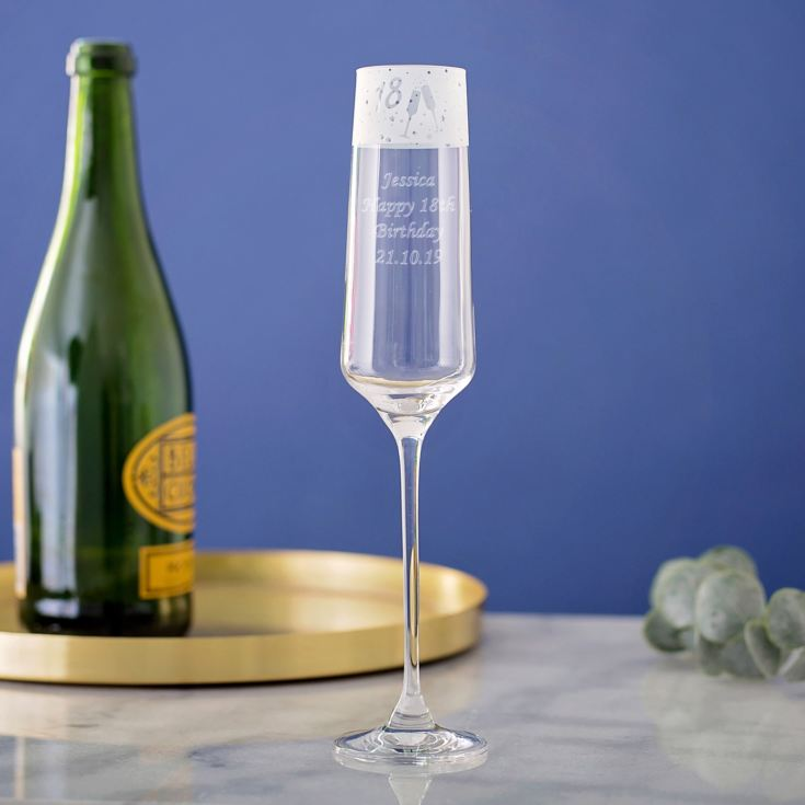 Personalised 18 Frieze Design Champagne Flute product image