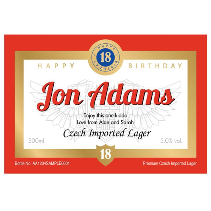 18th Birthday Personalised Bottle of Lager product image