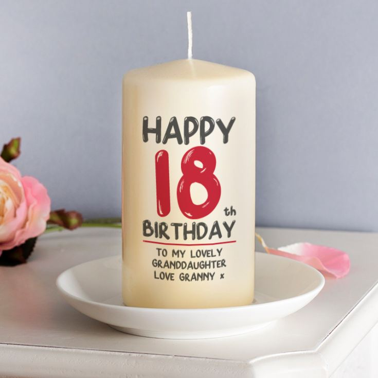 Personalised 18th Birthday Candle Red product image