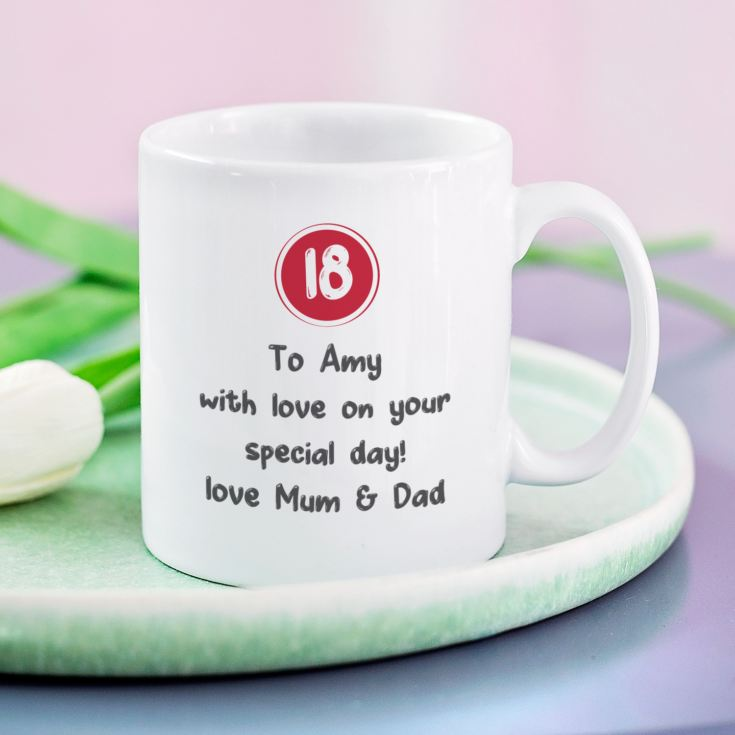 Personalised 18th Birthday Mug Red product image