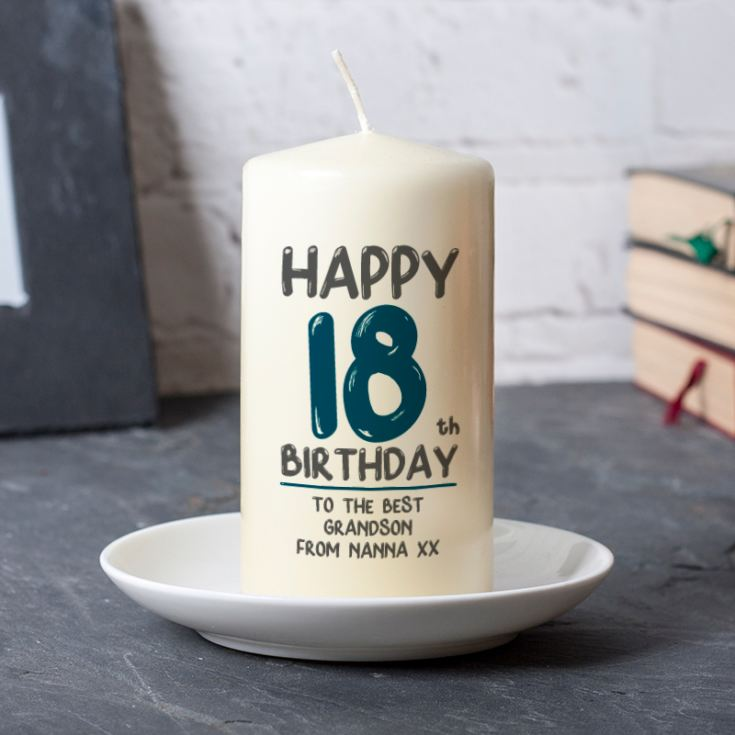 Personalised 18th Birthday Candle Blue product image