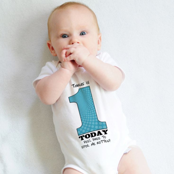 1 Today - Personalised 1st Birthday Boy Baby Grow product image