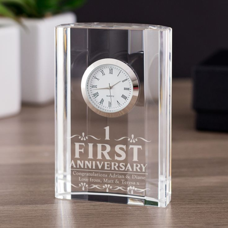 Personalised 1st Wedding Anniversary Gifts: Engraved First Wedding Anniversary Mantel Clock
