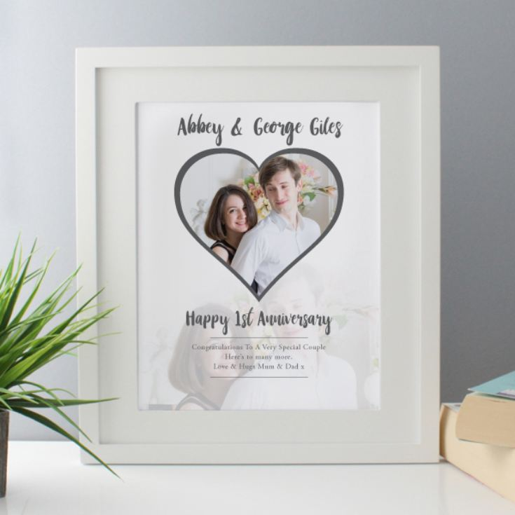 Personalised 1st Wedding Anniversary Gifts: Personalised 1st Wedding Anniversary (Paper) Framed Photo