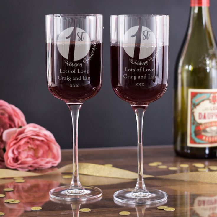 Personalised 1st Anniversary Fusion Wine Glasses product image