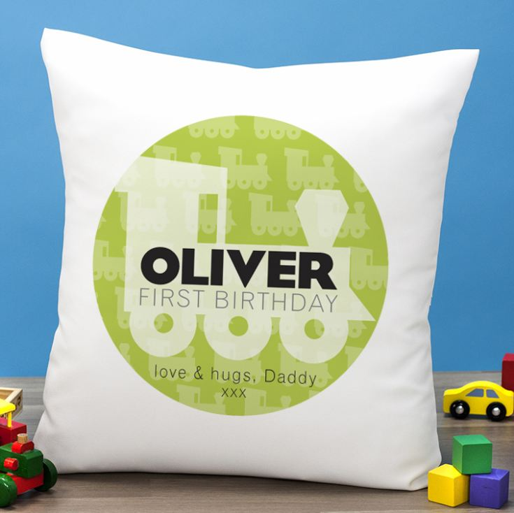 Personalised First Birthday Train Cushion product image