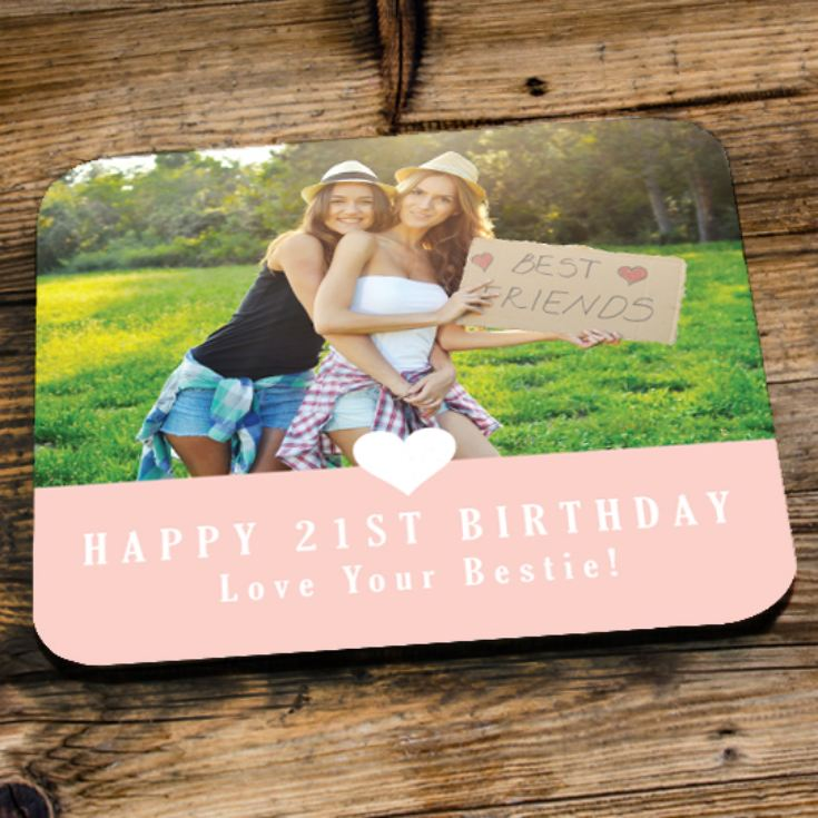 Personalised 21st Birthday Pink Photo Coaster product image