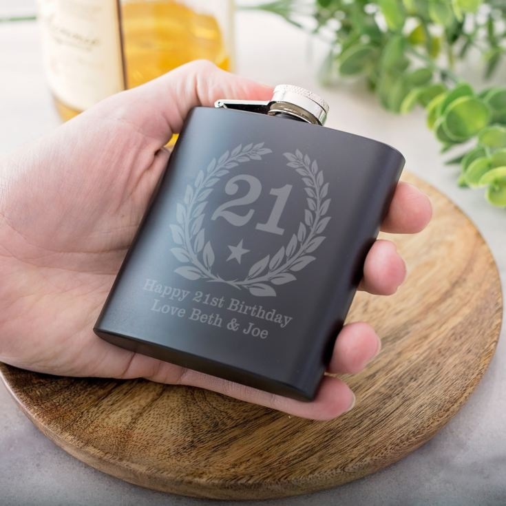 Personalised 21st Birthday Black Hip Flask product image
