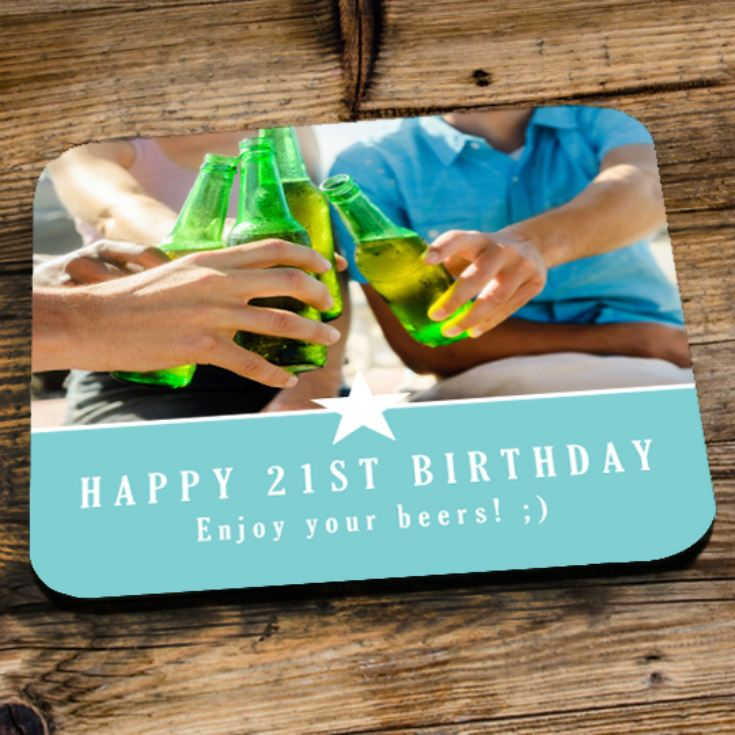 Personalised 21st Birthday Blue Photo Coaster product image