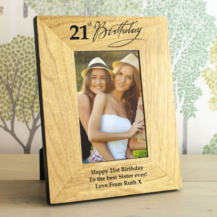 21st Birthday Wooden Personalised Photo Frame product image
