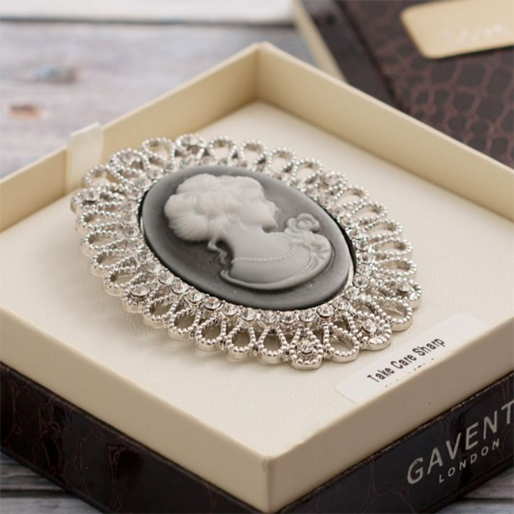Crystal Set Cameo Brooch in Personalised Gift Box product image