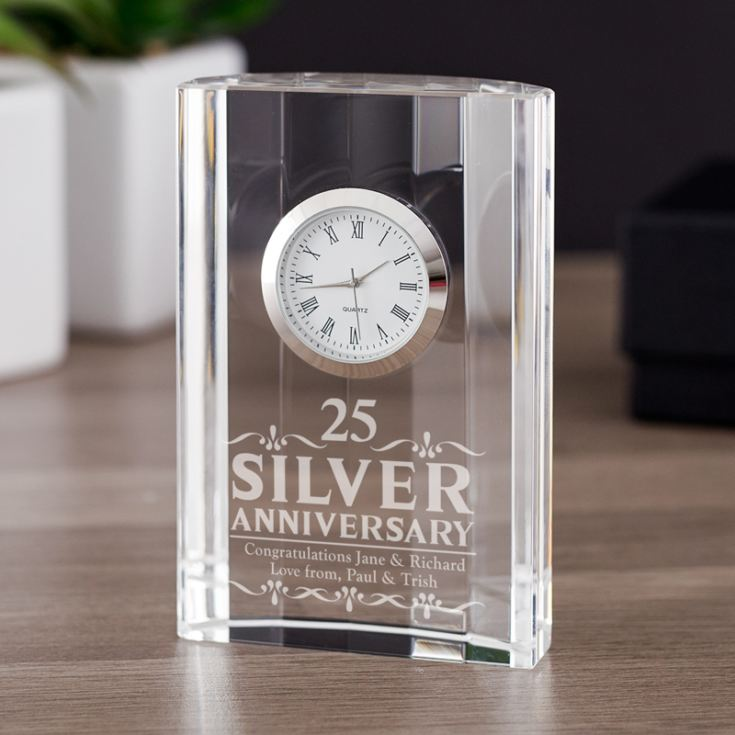 Special Gift For Wedding Anniversary: Engraved Silver Wedding Anniversary Mantel Clock