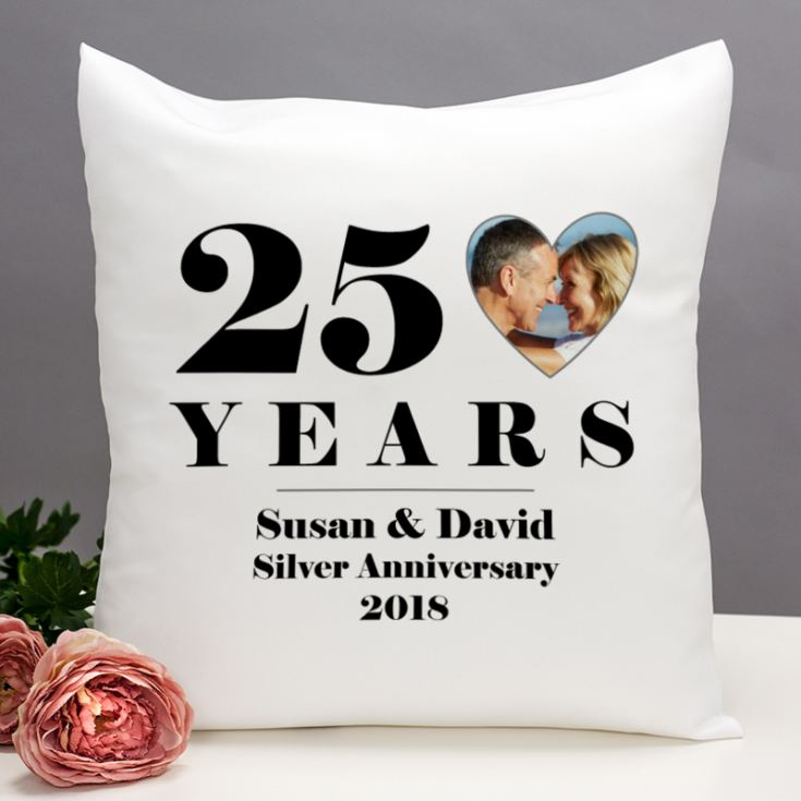 Personalised 25th Wedding Anniversary Photo Cushion product image