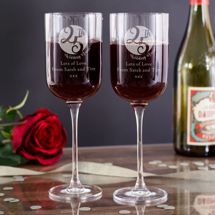 Personalised 25th Anniversary Fusion Wine Glasses product image