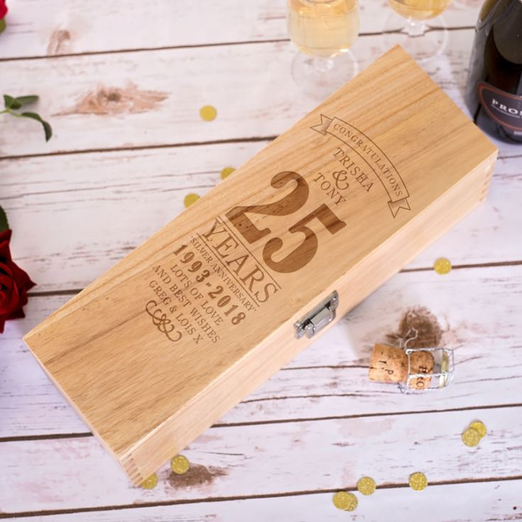 Personalised 25th Wedding Anniversary Luxury Wooden Wine Box product image
