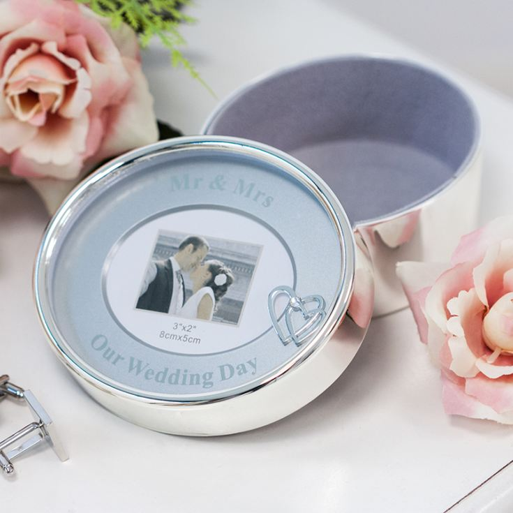 Mr & Mrs Silver Plated Oval Trinket Box product image