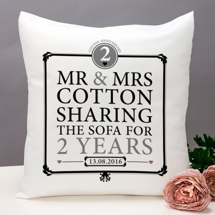 Gifts For Second Wedding Anniversary: Personalised 2nd Anniversary Sharing The Sofa Cushion