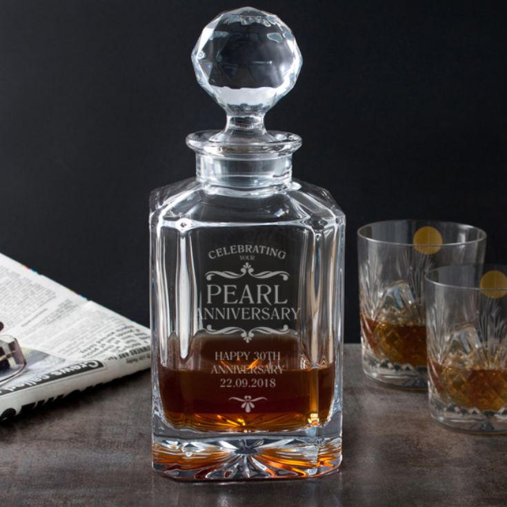 Personalised Pearl Anniversary Square Crystal Decanter product image