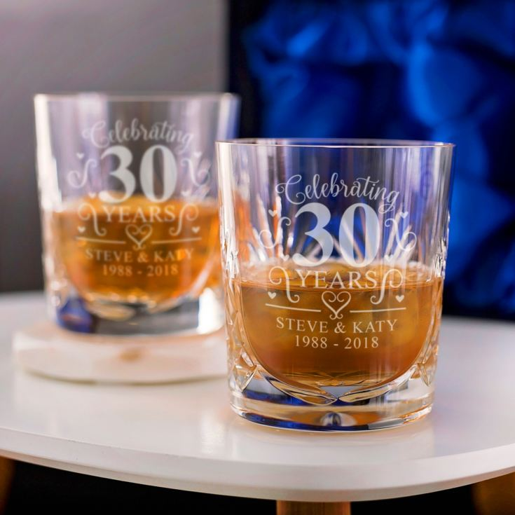 Engraved Cut Crystal Pearl Anniversary Whisky Tumblers product image