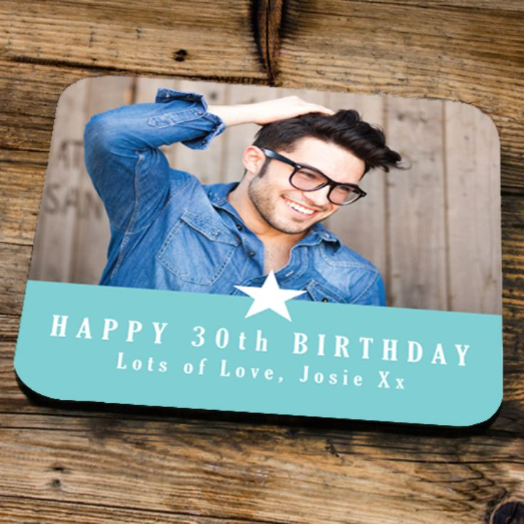 Personalised 30th Birthday Blue Photo Coaster product image