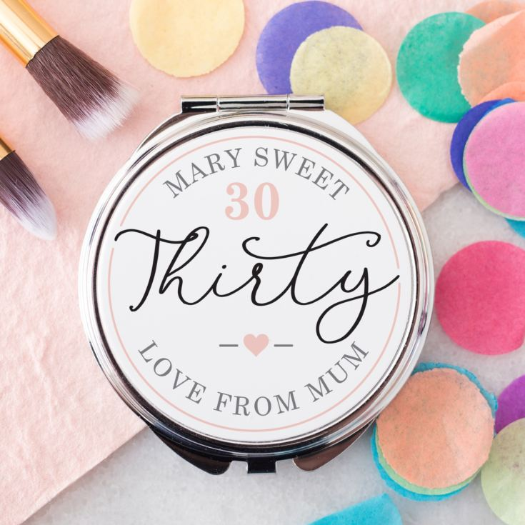 Personalised 30th Birthday Compact Mirror product image