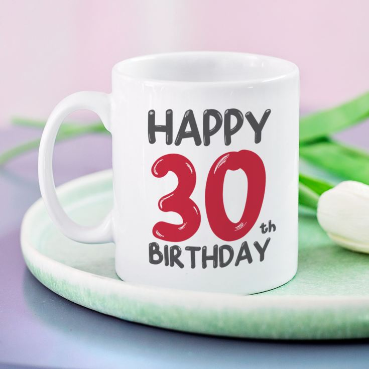 Personalised 30th Birthday Mug Red product image