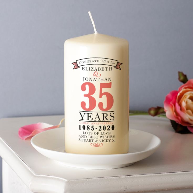 Personalised 35th Anniversary Candle product image